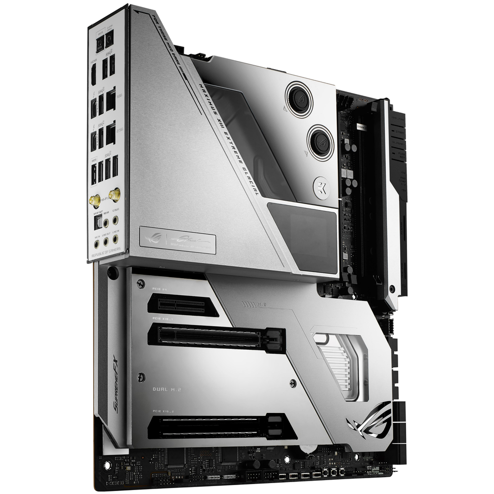 A large main feature product image of ASUS ROG MAXIMUS XIII EXTREME GLACIAL LGA1200 eATX Desktop Motherboard