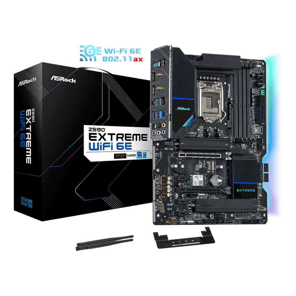 A large main feature product image of ASRock Z590 Extreme WiFi 6E LGA1200 ATX Desktop Motherboard