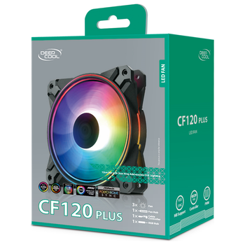 Product image of Deepcool CF120 Plus A-RGB 120mm Fans - 3 Pack - Click for product page of Deepcool CF120 Plus A-RGB 120mm Fans - 3 Pack