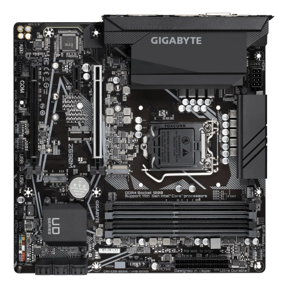 A large main feature product image of Gigabyte Z590M LGA1200 mATX Desktop Motherboard