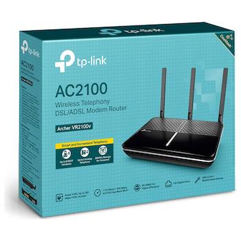 Product image of TP-LINK Archer VR2100v AC2100 Wireless MU-MIMO VDSL/ADSL Telephony Modem Router - Click for product page of TP-LINK Archer VR2100v AC2100 Wireless MU-MIMO VDSL/ADSL Telephony Modem Router