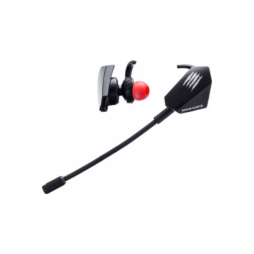 A large main feature product image of Mad Catz E.S. PRO+ Gaming Earbuds Black