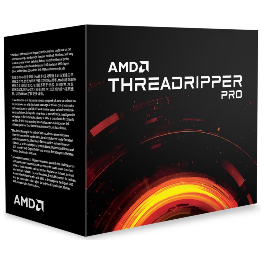 A large main feature product image of AMD Ryzen Threadripper PRO 3955WX 16 Core 32 Thread Up To 4.3Ghz 128MB sWRX8 Processor - No HSF Retail Box