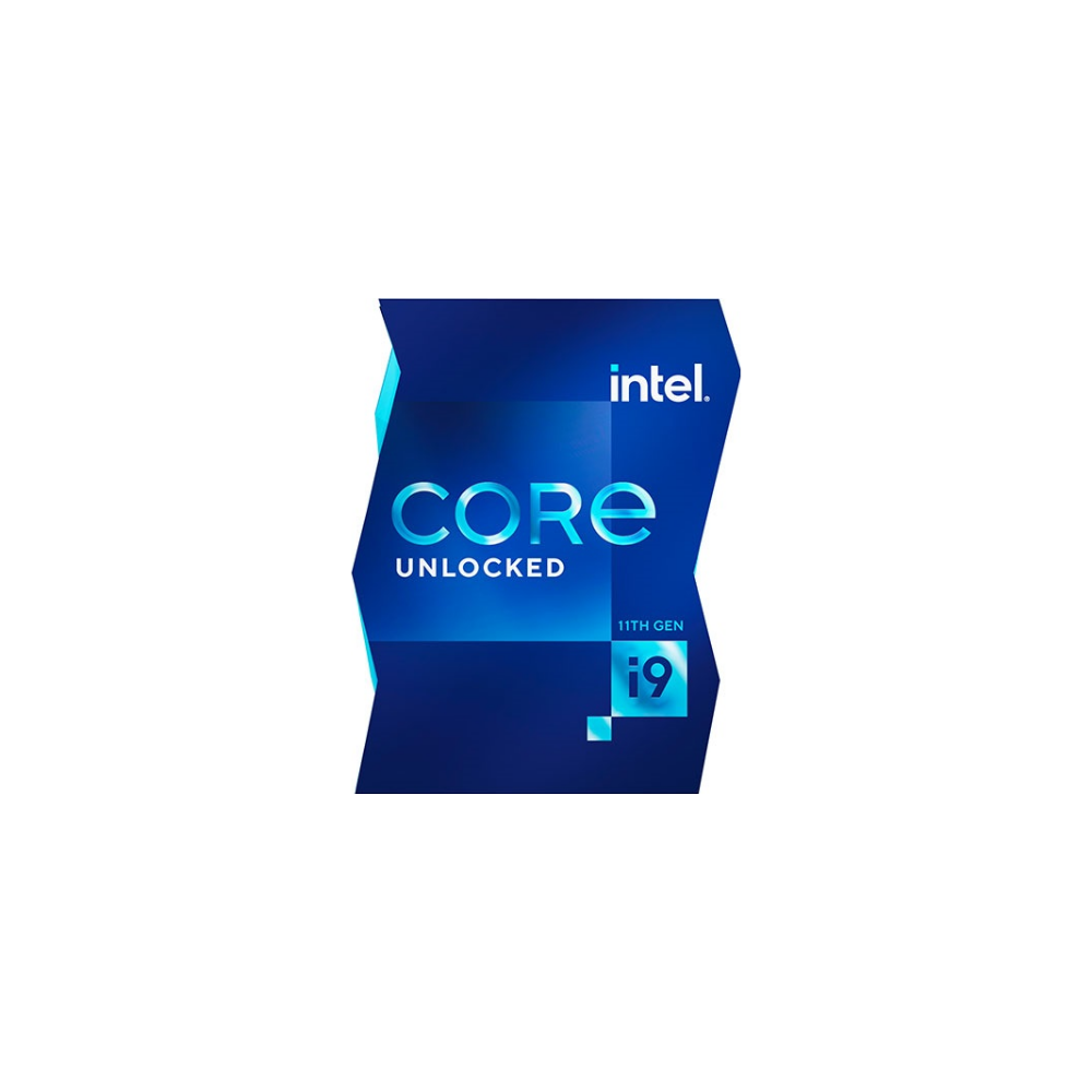 A large main feature product image of Intel Core i9 11900K Rocket Lake 8 Core 16 Thread Up To 5.3Ghz LGA1200 - No HSF Retail Box