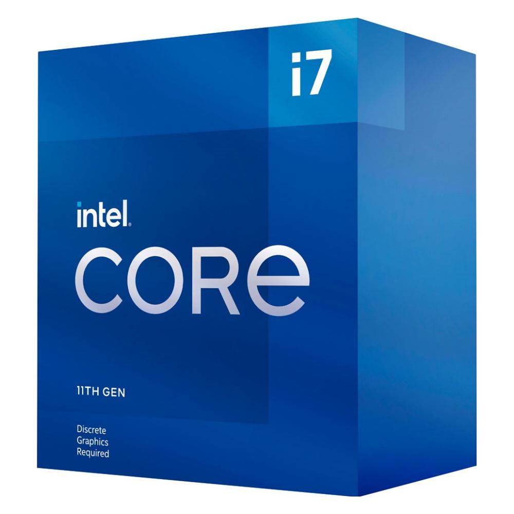 A large main feature product image of Intel Core i7 11700F Rocket Lake 8 Core 16 Thread Up To 4.9Ghz LGA1200 - No iGPU Retail Box