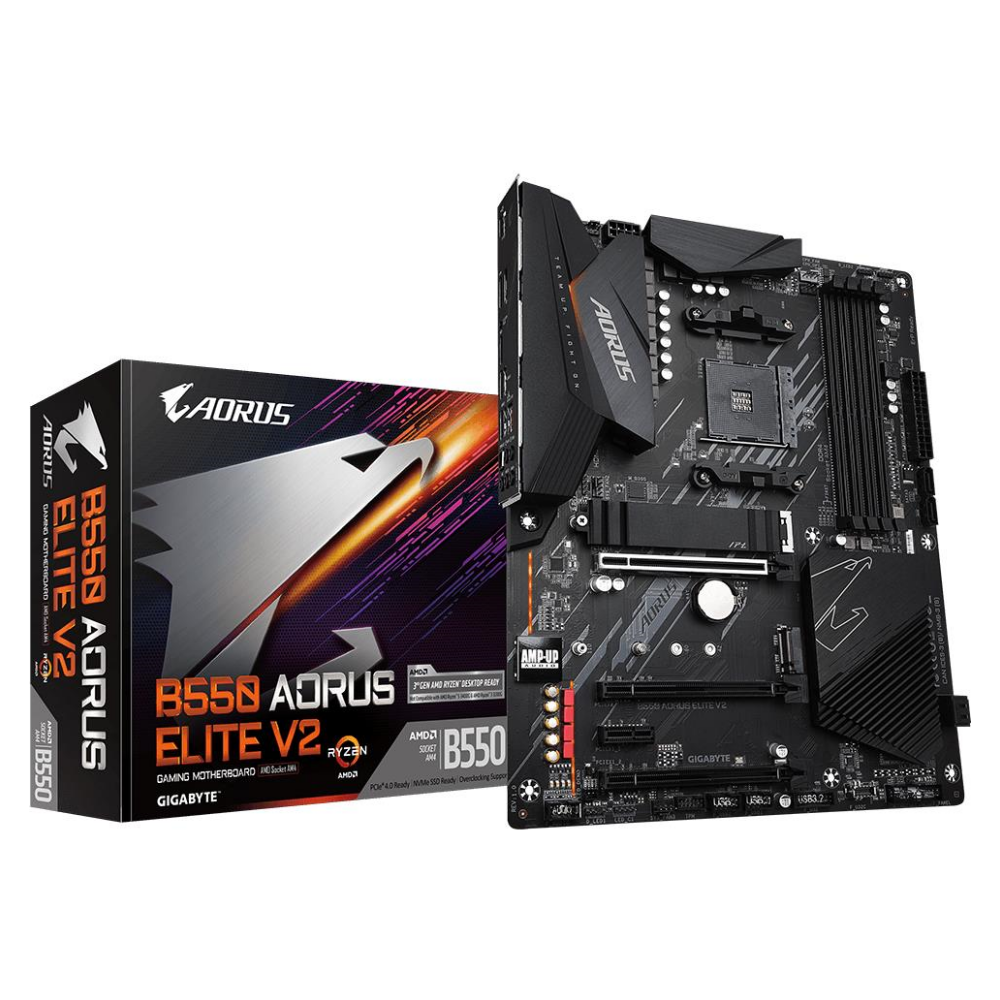 A large main feature product image of Gigabyte B550 Aorus Elite V2 AM4 ATX Desktop Motherboard