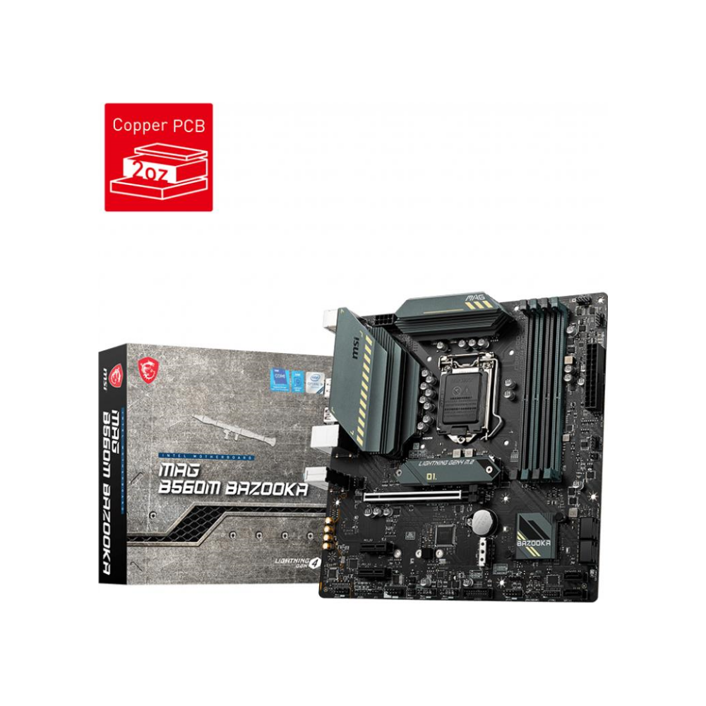A large main feature product image of MSI MAG B560M Bazooka LGA1200 mATX Desltop Motherboard