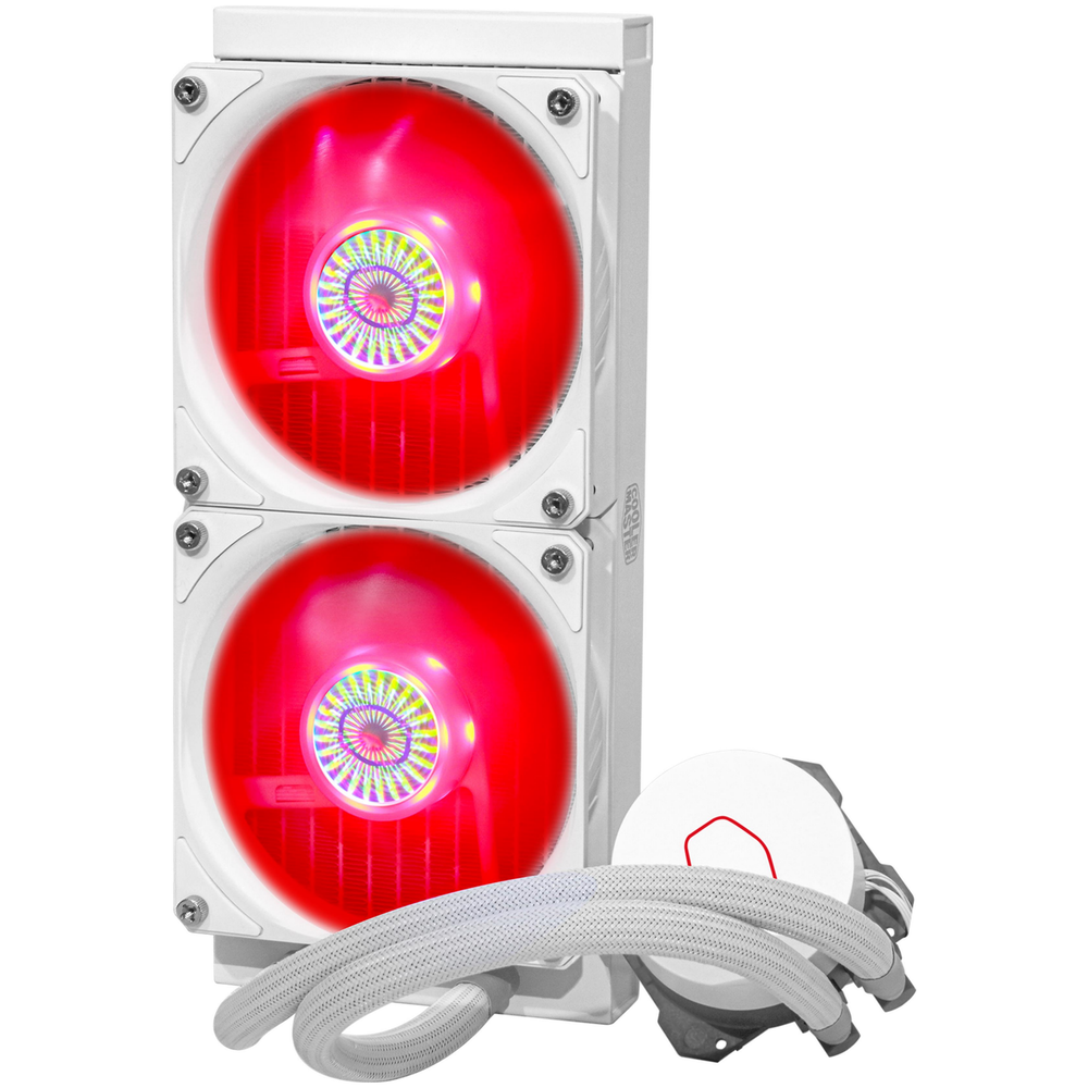A large main feature product image of Cooler Master MasterLiquid ML240L V2 RGB 240mm AIO Liquid CPU Cooler - White Edition