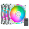 A product image of Cooler Master MasterFan MF120 Halo White ARGB 120mm Fan - 3 Pack