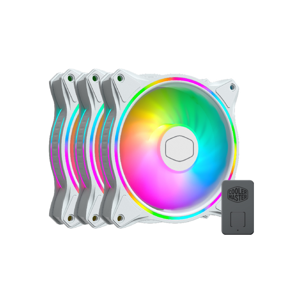 A large main feature product image of Cooler Master MasterFan MF120 Halo White ARGB 120mm Fan - 3 Pack