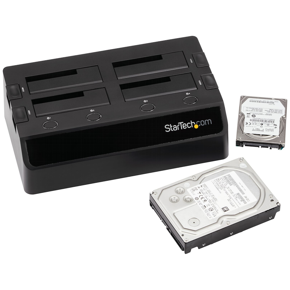A large main feature product image of Startech USB 3.0 4-Bay 2.5/3.5in SATA HDD/SSD Docking Station w/ UASP