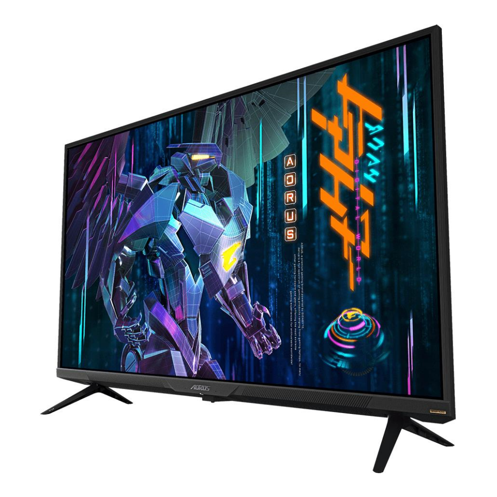 "A large main feature product image of Gigabyte Aorus FV43U 43"" UHD 144Hz 1MS HDR1000 VA QLED Gaming Monitor"