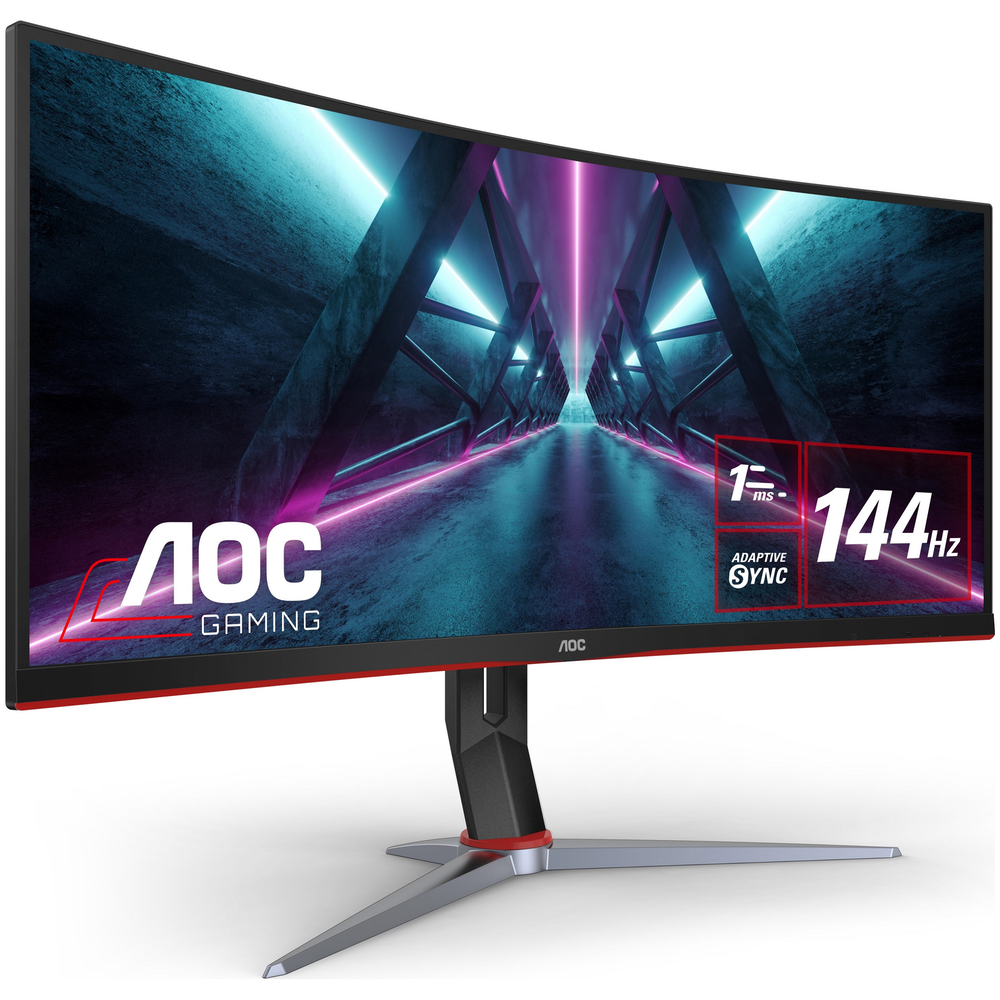 "A large main feature product image of AOC CU34G2X 34"" Curved UWQHD Ultrawide Adaptive-Sync 144Hz 1MS VA LED Gaming Monitor"