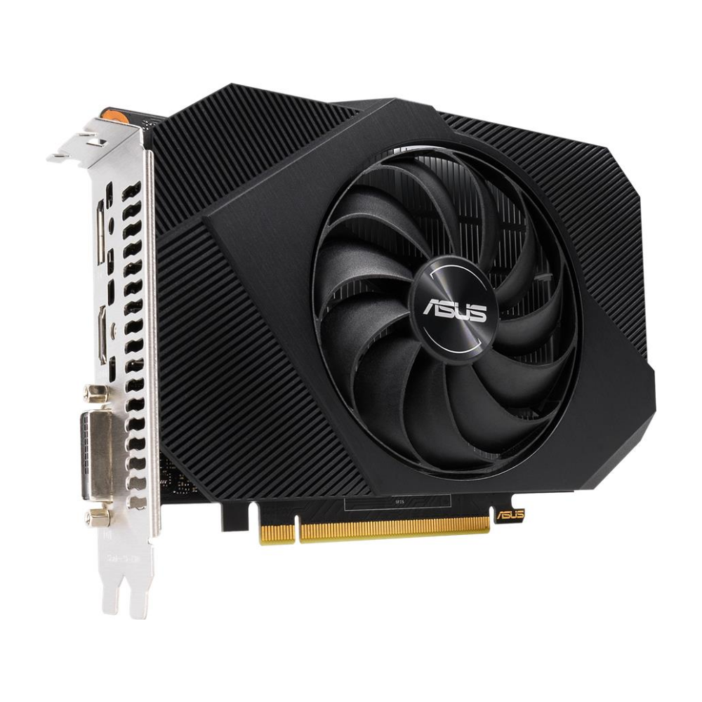 A large main feature product image of ASUS GeForce GTX 1650 Phoenix 4GB GDDR6