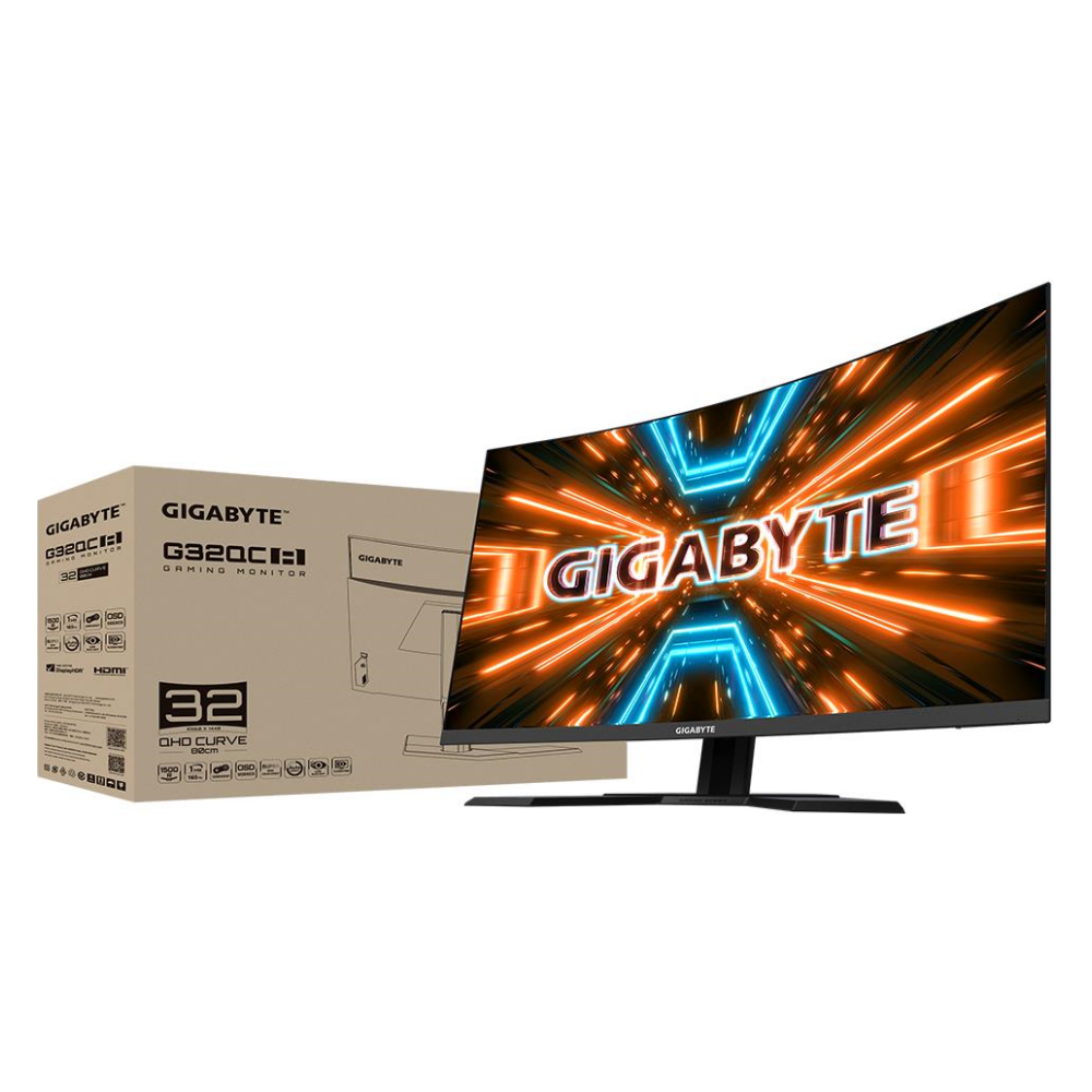 """A large main feature product image of Gigabyte G32QC A 31.5"""" Curved QHD FreeSync Premium Pro 165Hz 1MS HDR400 VA LED Gaming Monitor"""