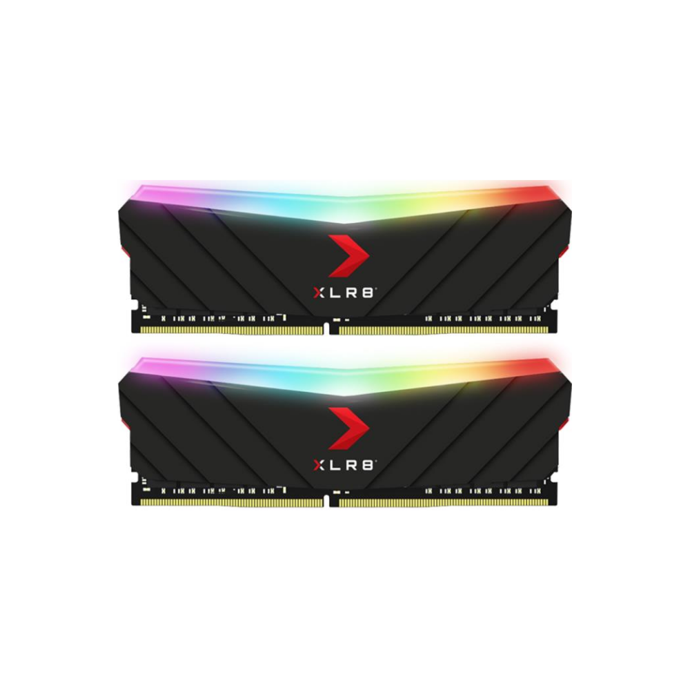A large main feature product image of PNY XLR8 16GB (2X8GB) EPIC-X RGB Gaming DDR4 C18 4000Mhz - Black Edition