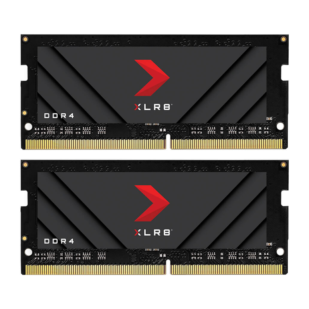 A large main feature product image of PNY 16GB (2x8GB) XLR8 Gaming DDR4 3200MHz Notebook Memory
