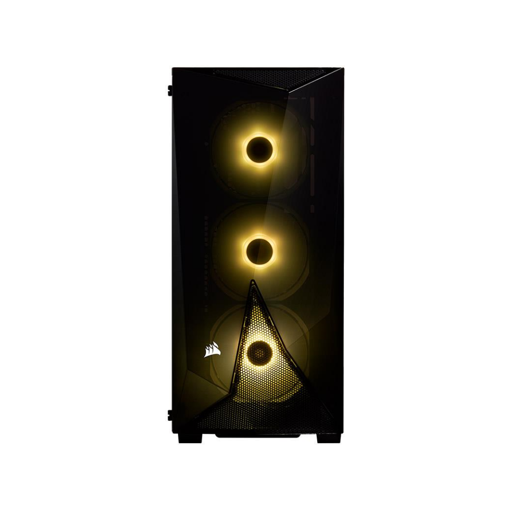A large main feature product image of Corsair Carbide SPEC-DELTA Black RGB Mid Tower Case w/Tempered Glass Side Panel