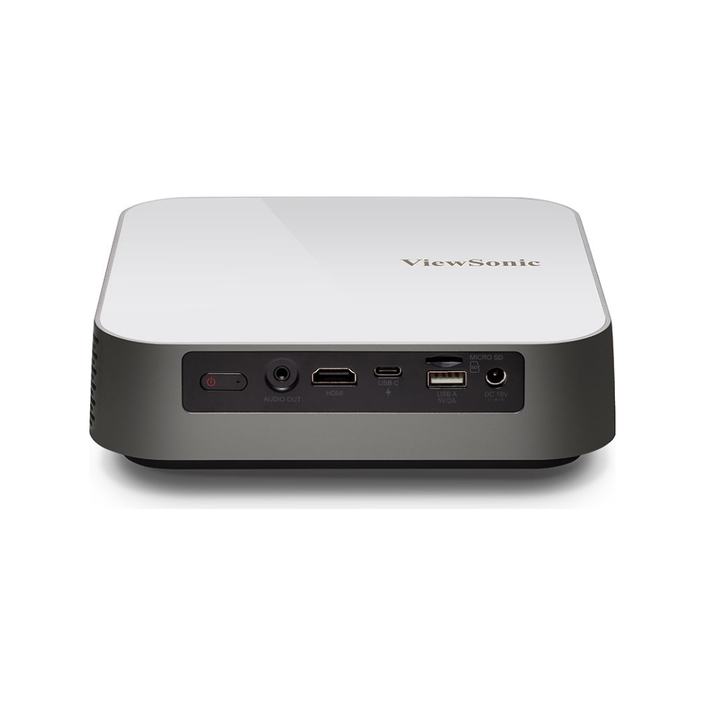 A large main feature product image of ViewSonic M2e Smart 1080p Portable LED Projector