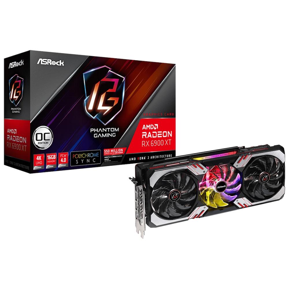 A large main feature product image of ASRock Radeon RX 6900 XT Phantom Gaming OC 16GB GDDR6