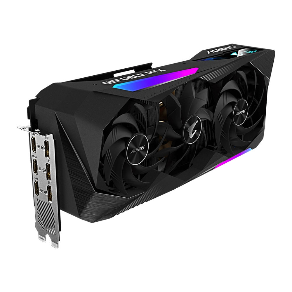A large main feature product image of Gigabyte GeForce RTX 3070 Ti Aorus MASTER 8GB GDDR6X