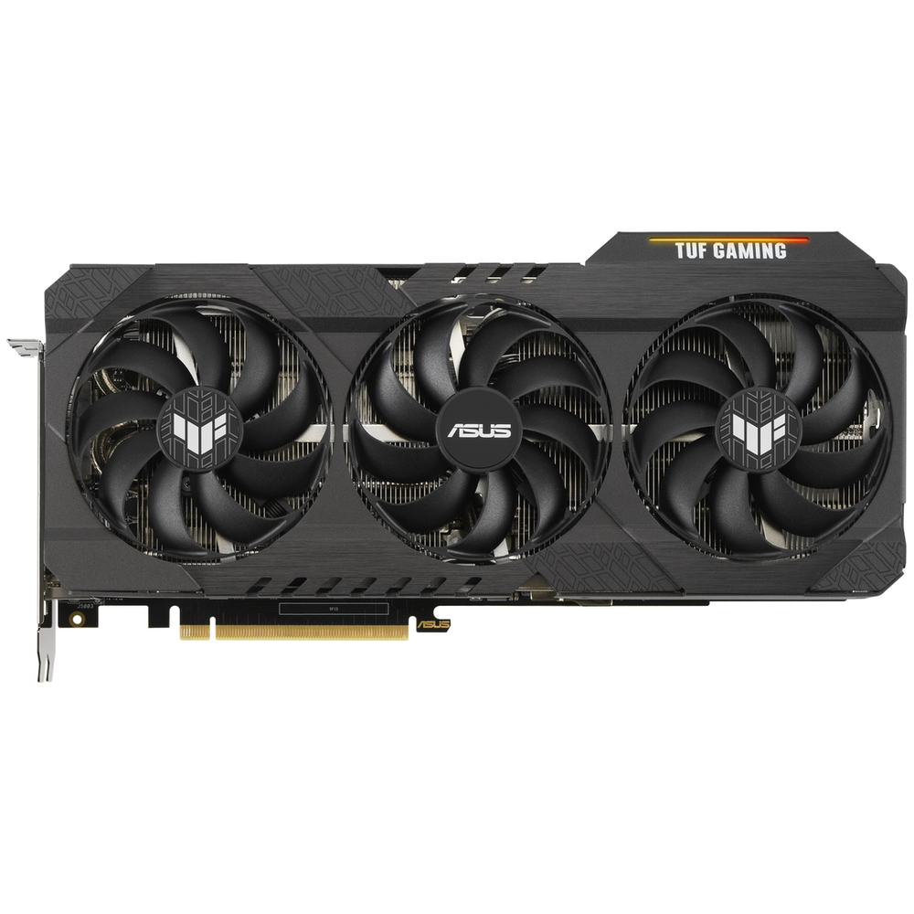 A large main feature product image of Asus GeForce RTX 3070 Ti TUF Gaming OC 8GB GDDR6X