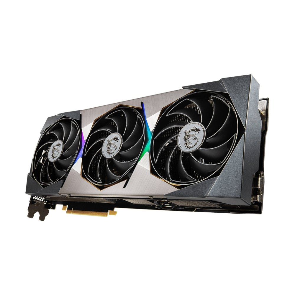 A large main feature product image of MSI GeForce RTX 3070 Ti SUPRIM X 8GB GDDR6X