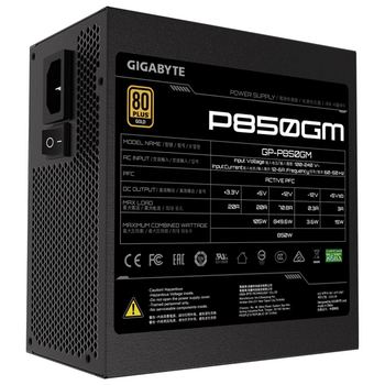 Product image of Gigabyte 850W Fully Modular 80PLUS Gold Power Supply - Click for product page of Gigabyte 850W Fully Modular 80PLUS Gold Power Supply