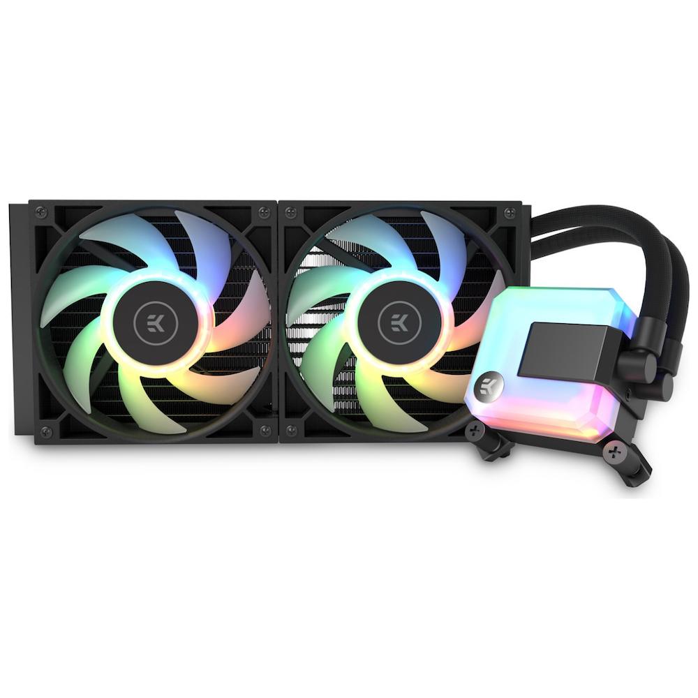 A large main feature product image of EK AIO 280 D-RGB AIO Liquid CPU Cooler