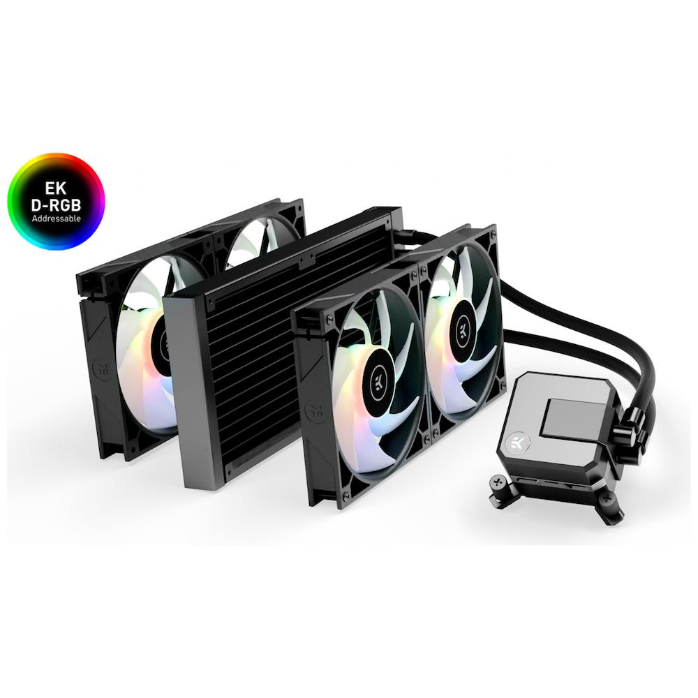 A large main feature product image of EK AIO 280 Elite D-RGB AIO Liquid CPU Cooler