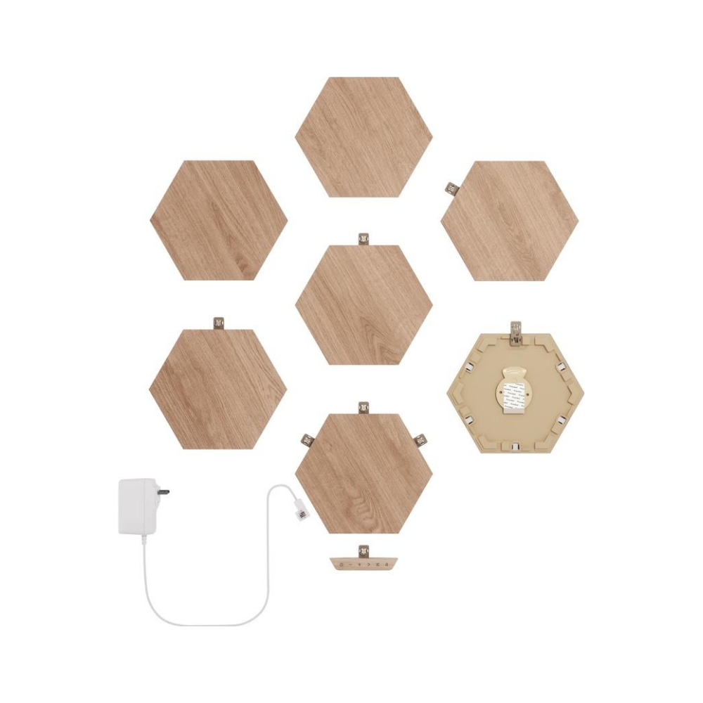 A large main feature product image of NANOLEAF Elements Wood Look Starter Pack - 7 Pack