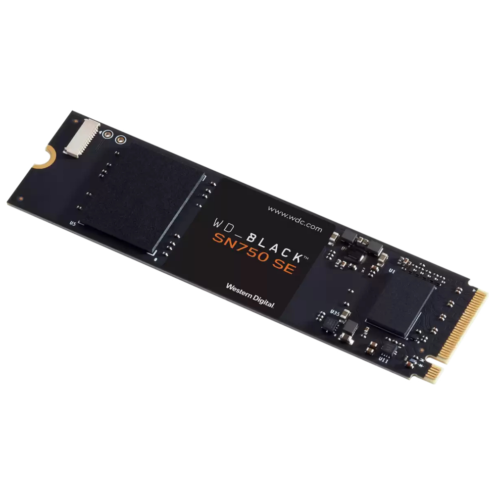 A large main feature product image of WD Black SN750 SE 500GB 3D NAND NVMe M.2 SSD