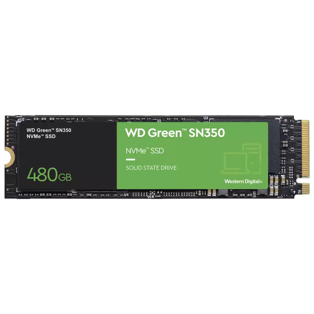 A large main feature product image of WD Green SN350 480GB NVMe M.2 SSD