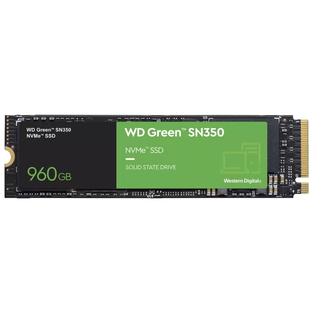 A large main feature product image of WD Green SN350 960GB NVMe M.2 SSD