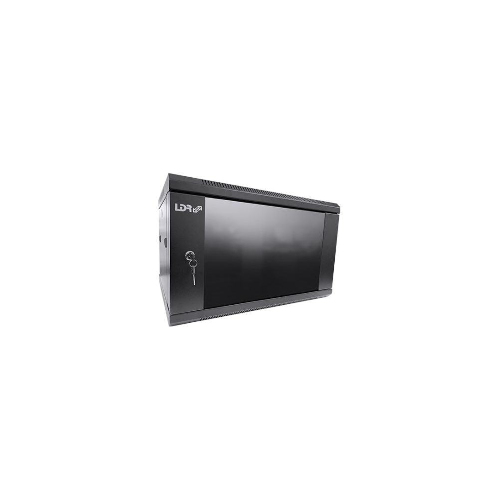 A large main feature product image of LDR 6U Wall Mount Cabinet Glass Door (600mm x 450mm) Flat Packed - Black Metal Construction - Top Fan Vents - Side Access Panels