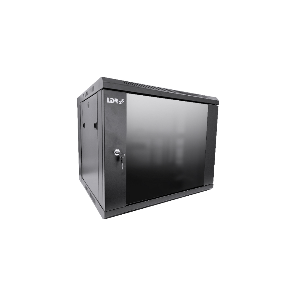 A large main feature product image of LDR 9U Wall Mount Cabinet Glass Door (600mm x 450mm) Flat Packed - Black Metal Construction - Top Fan Vents - Side Access Panels