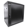 A product image of LDR 12U Wall Mount Cabinet Glass Door (600mm x 450mm) Flat Packed - Black Metal Construction - Top Fan Vents - Side Access Panels