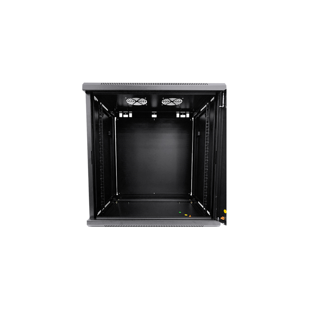 A large main feature product image of LDR 12U Wall Mount Cabinet Glass Door (600mm x 450mm) Flat Packed - Black Metal Construction - Top Fan Vents - Side Access Panels