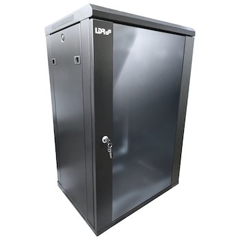 Product image of LDR 18U Wall Mount Cabinet Glass Door (600mm x 450mm) Flat Packed - Black Metal Construction - Top Fan Vents - Side Access Panels - Click for product page of LDR 18U Wall Mount Cabinet Glass Door (600mm x 450mm) Flat Packed - Black Metal Construction - Top Fan Vents - Side Access Panels