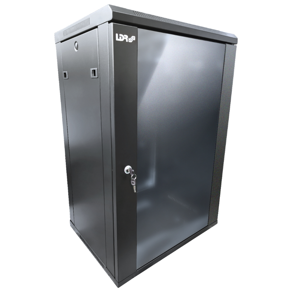 A large main feature product image of LDR 18U Wall Mount Cabinet Glass Door (600mm x 450mm) Flat Packed - Black Metal Construction - Top Fan Vents - Side Access Panels