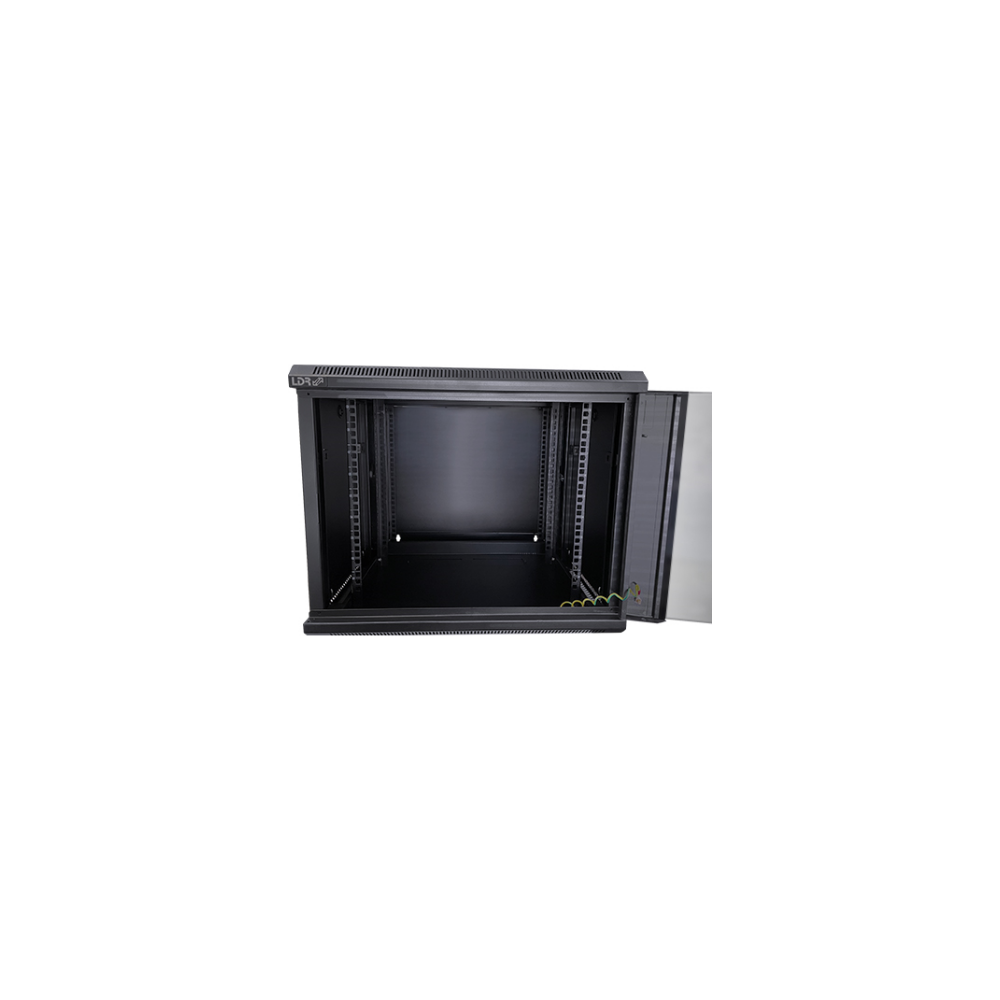 A large main feature product image of LDR 9U Hinged Wall Mount Cabinet Glass Door (600mm x 550mm) Flat Packed - Black Metal Construction - Top Fan Vents - Side Access Panels