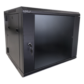Product image of LDR 9U Hinged Wall Mount Cabinet Glass Door (600mm x 550mm) Flat Packed - Black Metal Construction - Top Fan Vents - Side Access Panels - Click for product page of LDR 9U Hinged Wall Mount Cabinet Glass Door (600mm x 550mm) Flat Packed - Black Metal Construction - Top Fan Vents - Side Access Panels