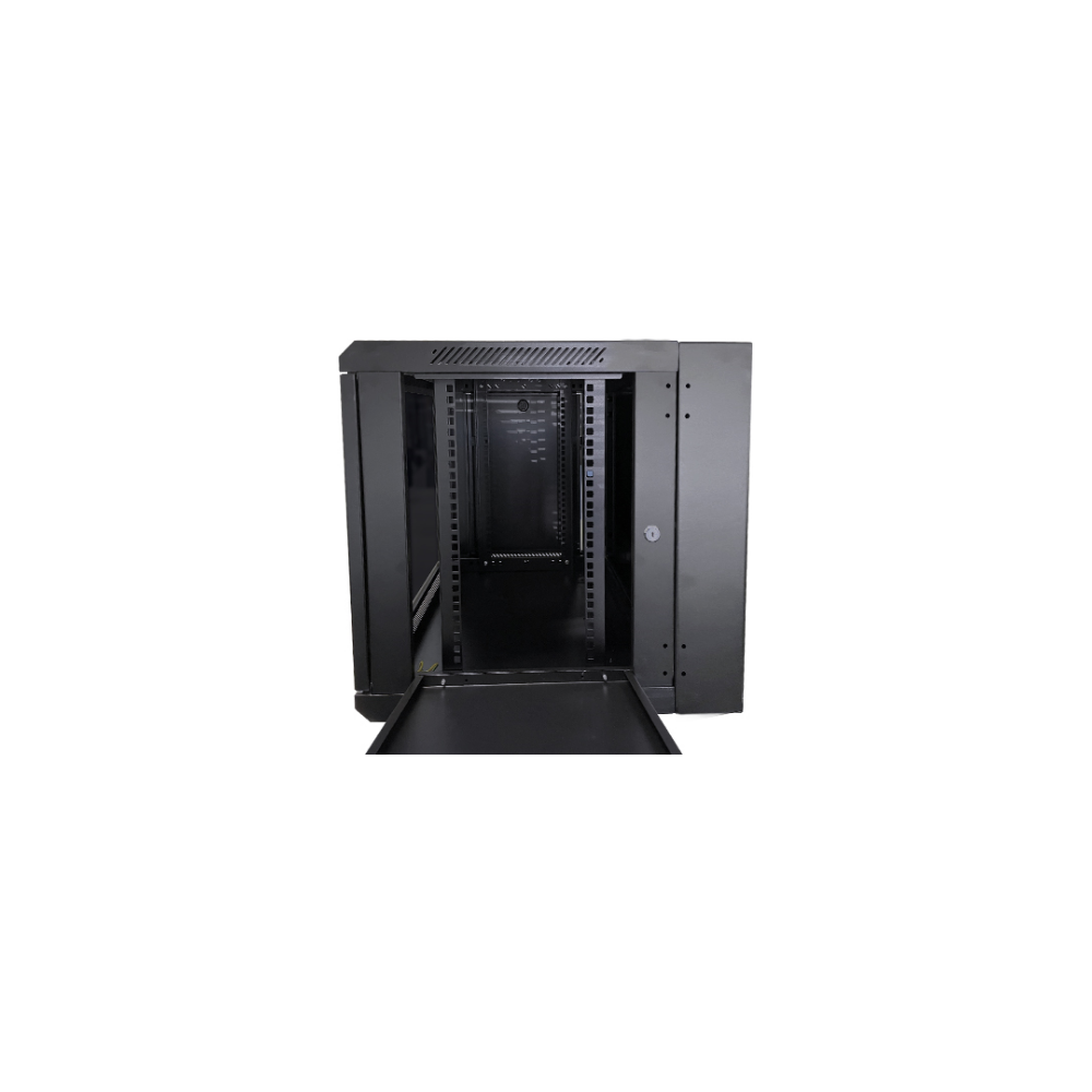 A large main feature product image of LDR 12U Hinged Wall Mount Cabinet Glass Door (600mm x 550mm) Flat Packed (2 Cartons) - Black Metal Construction - Top Fan Vents - Side Access Panels