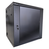 A product image of LDR 12U Hinged Wall Mount Cabinet Glass Door (600mm x 550mm) Flat Packed (2 Cartons) - Black Metal Construction - Top Fan Vents - Side Access Panels