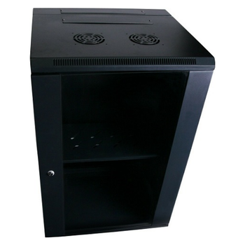 Product image of LDR 18U Hinged Wall Mount Cabinet Glass Door (600mm x 550mm) Flat Packed (2 Cartons) - Black Metal Construction - Top Fan Vents - Side Access Panels - Click for product page of LDR 18U Hinged Wall Mount Cabinet Glass Door (600mm x 550mm) Flat Packed (2 Cartons) - Black Metal Construction - Top Fan Vents - Side Access Panels