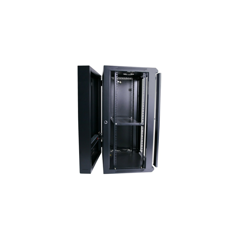 A large main feature product image of LDR 18U Hinged Wall Mount Cabinet Glass Door (600mm x 550mm) Flat Packed (2 Cartons) - Black Metal Construction - Top Fan Vents - Side Access Panels