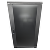A product image of LDR 22U Server Rack Cabinet Glass Door (600mm x 1000mm) Flat Packed (3 Cartons) 2 Included Shelves - Black Metal Construction - Top Fan Vents - Side A