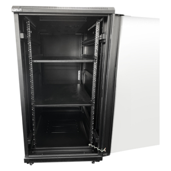 Product image of LDR 22U Server Rack Cabinet Glass Door (600mm x 1000mm) Flat Packed (3 Cartons) 2 Included Shelves - Black Metal Construction - Top Fan Vents - Side A - Click for product page of LDR 22U Server Rack Cabinet Glass Door (600mm x 1000mm) Flat Packed (3 Cartons) 2 Included Shelves - Black Metal Construction - Top Fan Vents - Side A