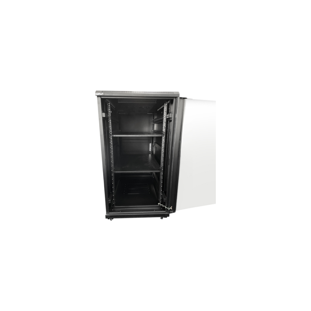 A large main feature product image of LDR 22U Server Rack Cabinet Glass Door (600mm x 1000mm) Flat Packed (3 Cartons) 2 Included Shelves - Black Metal Construction - Top Fan Vents - Side A