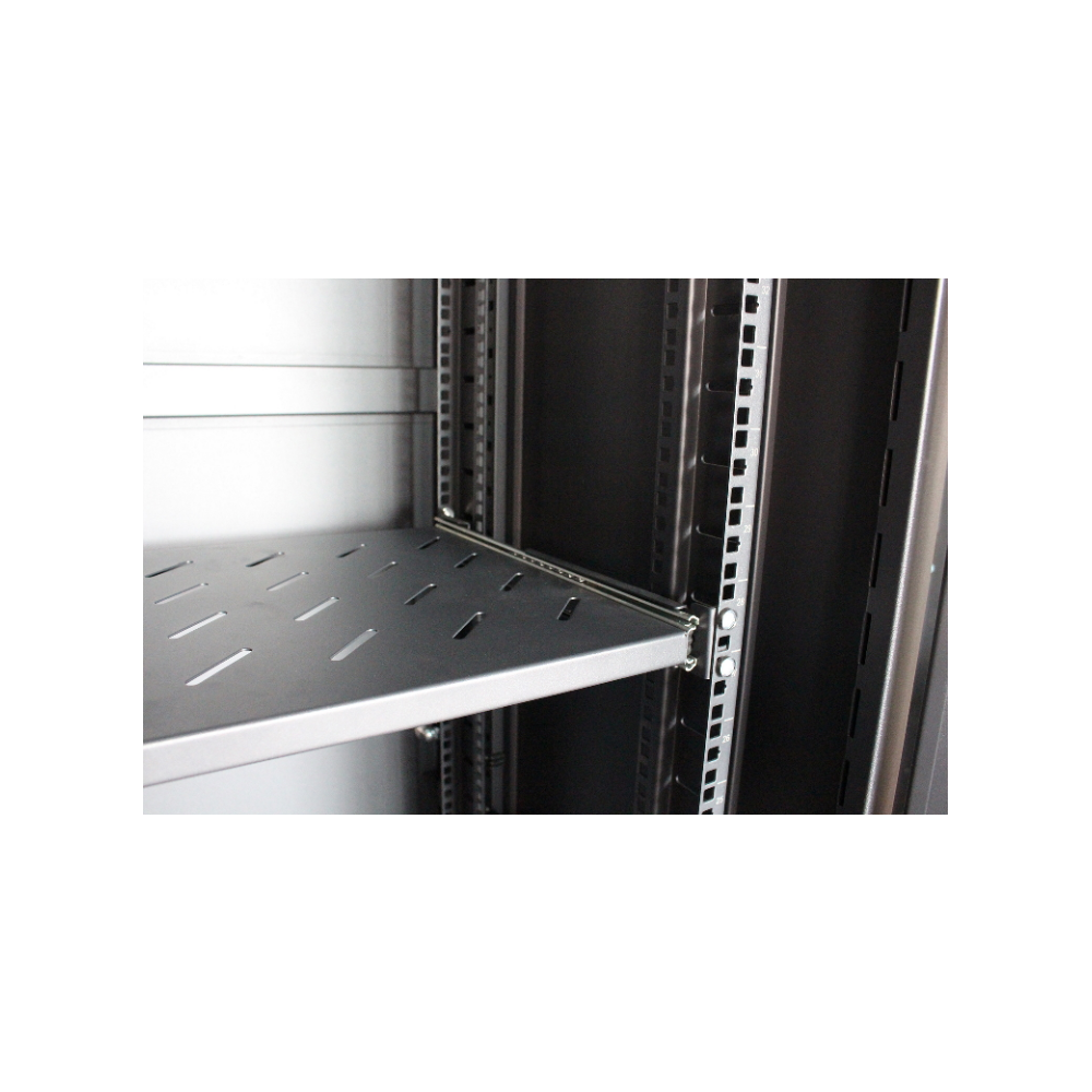 A large main feature product image of LDR 42U Server Rack Cabinet Glass Door (600mm x 1000mm) Flat Packed (3 Cartons) With 1x 8 Port PDU & 1x 4 Way Fan - Black Metal Construction